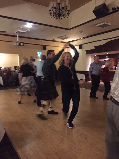 Emma , a visitor from Canada, dancing a fine Gay Gordons Two Step..