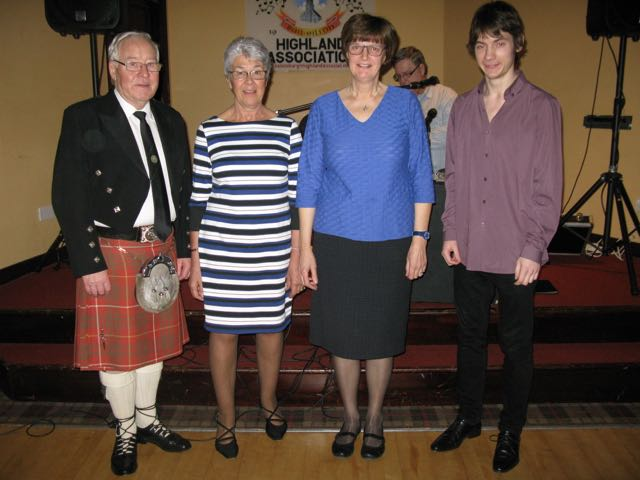 Our resident Piper, Bruce Shearlaw with Guest singer,  Seonaidh Rostant, Pianist Sheila Galbraith and Fiddler Ryan Young..